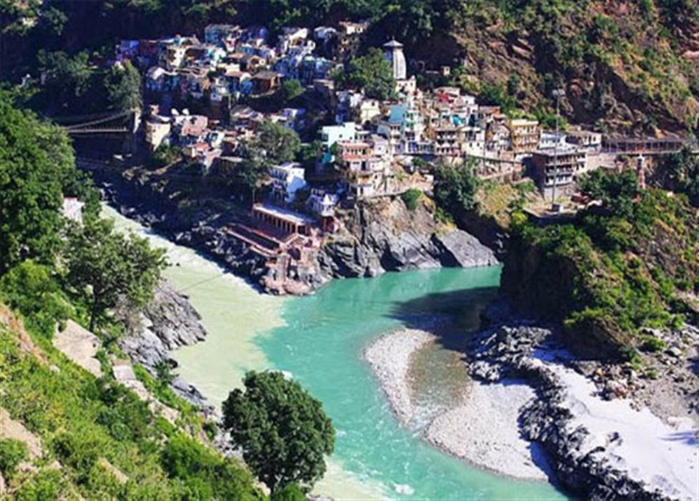 Ngã ba sông của sông Alaknanda và sông Bhagirathi, Ấn Độ.